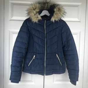 Special One Blue Puffer Faux Fur Hooded Jacket